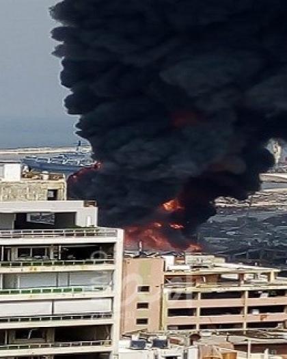 اندلاع حريق في مرفأ بيروت